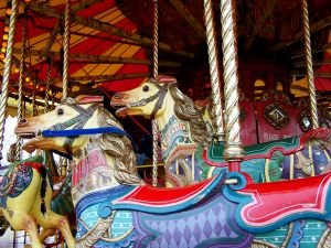Attracting customers with beautiful Merry-Go-Round horses.